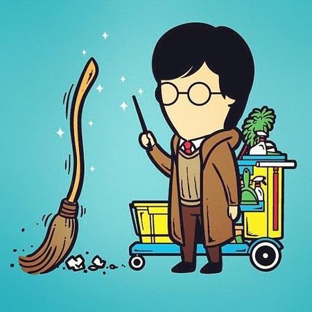 Harry Potter với khả năng điều khiển cây chổi thần kỳ làm nhân viên vệ sinh.