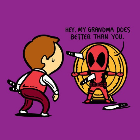 Deadpool với khả năng tự lành vết thương xin làm diễn viên phục vụ trong tiết mục xiếc phi dao.