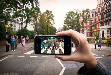 """Cảnh trong phim """"The Beatles"""" quay ở đường Abbey, London, Anh."""