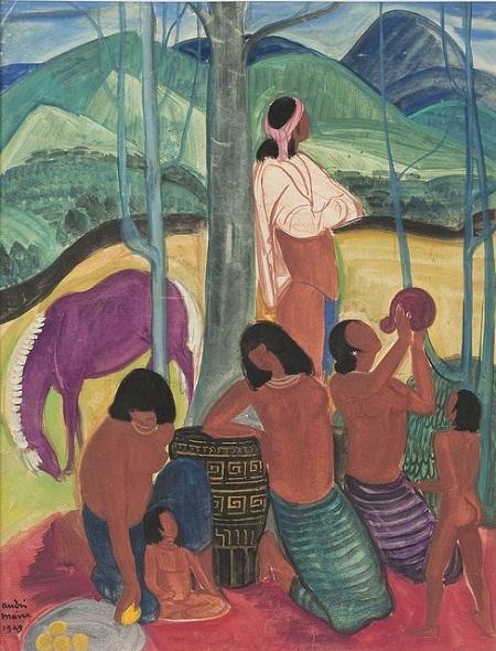 """Bức """"Dân tộc vùng cao"""" vẽ bằng phấn màu và màu bột trên giấy, do họa sĩ người Pháp"""