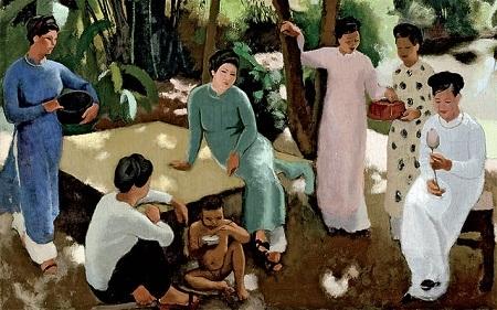 """Bức tranh sơn dầu """"Janette, Dominique và bà vú em"""" của Joseph Inguimberty."""