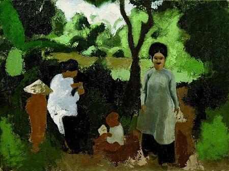 """Bức tranh sơn dầu """"Phụ nữ và trẻ em"""" vẽ năm 1934 của Inguimberty."""