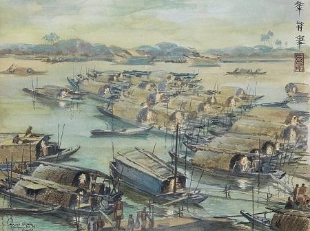 Bức tranh khắc họa quang cảnh kênh Tàu Hủ ở Sài Gòn năm 1939, do họa sĩ người Pháp