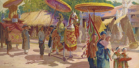 """Bức tranh sơn dầu """"Một đám rước ở Đông Dương"""" vẽ năm 1927 của họa sĩ người Pháp"""