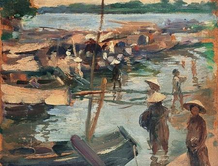"""Bức """"Chợ bên bến sông"""" - một bức tranh sơn dầu của họa sĩ người Pháp"""