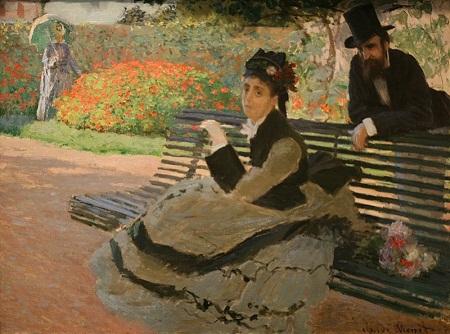 Claude Monet và Camille Monet bên ghế công viên (1873)