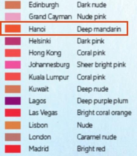 Bản đồ các màu son được ưa chuộng bởi phụ nữ ở từng quốc gia, khu vực trên thế giới.