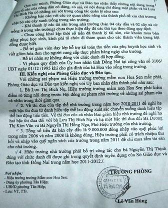 Phòng GD-ĐT TP Biên Hòakiến nghị xử lý sai phạm tại Trường mầm non Hoa Sen.