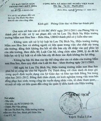 Dựa trên báo cáo của Phòng Nội vụ, UBND TP Biên Hòa không xử lý kỷ luật.