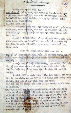 Tờ tặng giữ với điều kiện của 3 căn nhà cho bà Hồng