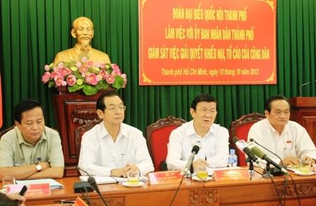 Chủ tịch nước Trương Tấn Sang cùng đoàn ĐBQH làm việc với UBND TPHCM