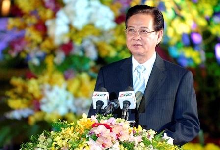 Thủ tướng Nguyễn Tấn Dũng phát biểu trong buổi lễ vinh danh Nghệ thuật Đờn ca tài tử Nam Bộ