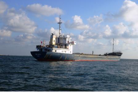Tàu Phương Nam 45, chuyến tàu đầu tiên chở bụi lò cho BR-VT đang bị tạm giữ tại vùng biển Vũng Tàu