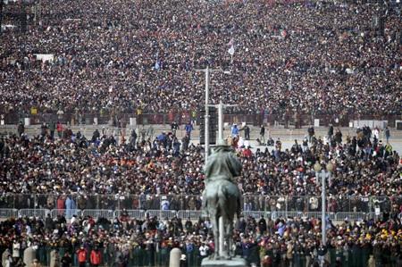 Biển người chen chân tại Quảng trường Quốc gia ở Washington D.C trước giờ phút ông Obama nhậm chức.
