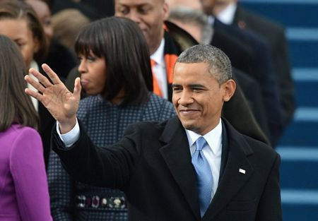 Nhà lãnh đạo Mỹ vẫy tay chào khi tới lễ nhậm chức.