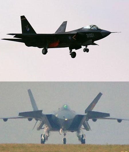 Các chiến đấu cơ tàng hình J-31 (trên) và J-20 của Trung Quốc.