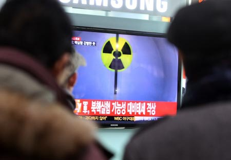 Báo chí Hàn Quốc đưa tin về vụ thử hạt nhân của Triều Tiên hồi tháng 2.