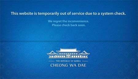 Trang web của phủ tổng thống đã bị đánh sập.