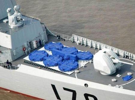 Hệ thống phòng tên lửa phòng không trên khu trục hạm 052C Trung Quốc.
