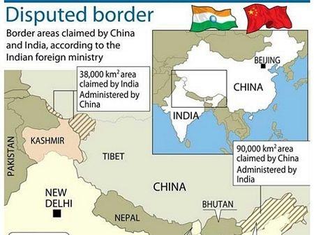 Bản đồ các khu vực tranh chấp giữa Ấn Độ và Trung Quốc
