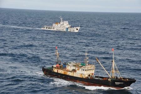 Tàu Lu Rong Yu 6177 bị tàu hải quân Argentina áp tải vào bờ (ảnh: Website tỉnh Chubut).