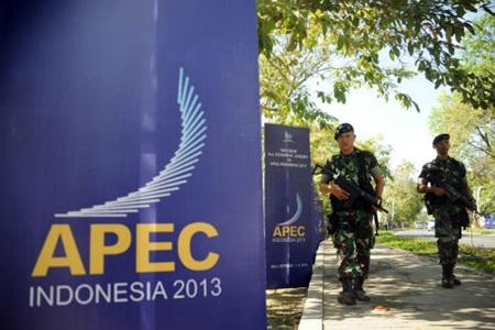 Lực lượng an ninh Indonesia bảo vệ hội nghị APEC.