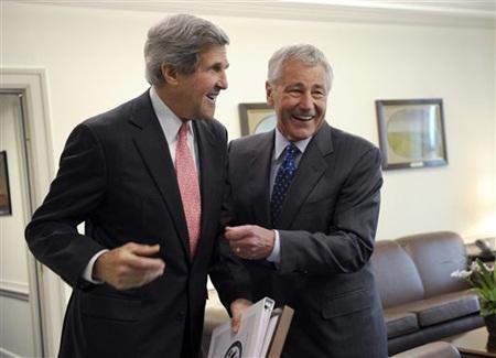 Ngoại trưởng Mỹ John Kerry và Bộ trưởng quốc phòng Mỹ Chuck Hagel.