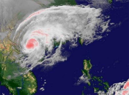 Ảnh vệ tinh chụp bão Haiyan lúc 8h25 ngày 11/11.