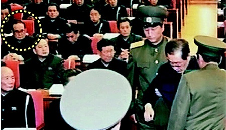 Người đượctin là ông Ri Su-yong (ô tròn) đã chứng kiến cảnh ông Jang bị bắt.