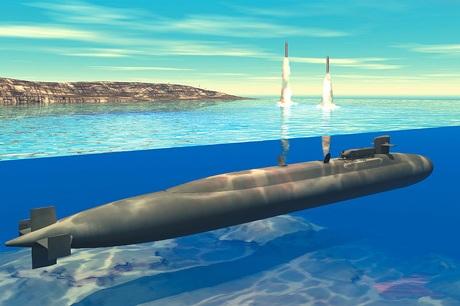 Đồ họa mô phỏng tàu ngầm hạt nhân lớp Ohio phóng các tênlửa Tomahawk.