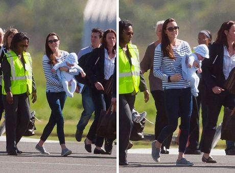 Hoàng tử George, 6 tháng tuổi, được mẹ bế trên tay trong kỳ nghỉ trên đảo Mustique ở Caribê.