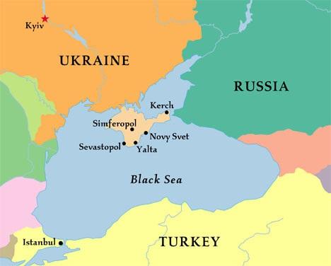Cây cầu nối từ Nga tới bán đảo Crimea sẽ bắc qua eo biển Kerch.