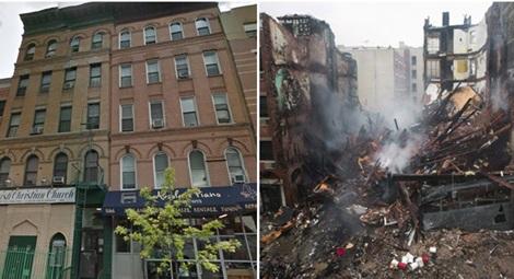 2 tòa nhà chung cư trước và sau vụ nổ.