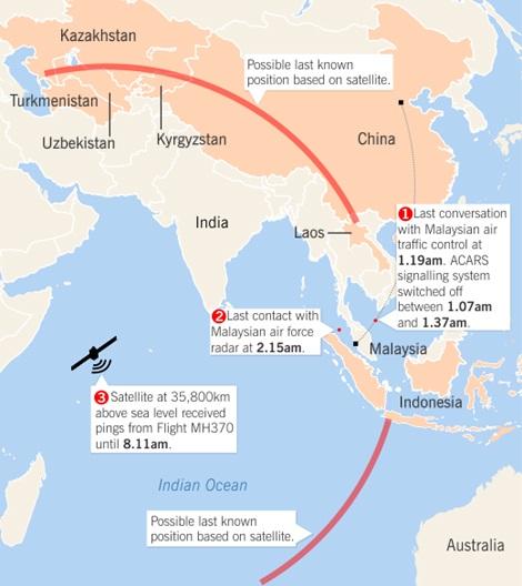 Việc tìm kiếm máy bay giờ đây được triển khai theo 2 hướng (đường kẻ đỏ và cam).