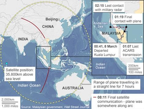 Cuộc tìm kiếm MH370 giờ đây tập trung vào 2 hướng (đường kẻ đỏ).