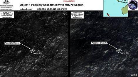 Úc công bố ảnh vệ tinh mảnh vỡ nghi của máy bay Malaysia