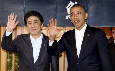 Tổng thống Obama và Thủ tướng Nhật Abe tại Tokyo ngày 23/4.
