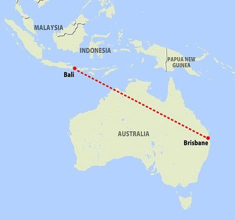 Chiếc máy bay đã hạ cánh sau hành trình từ Brisbane.