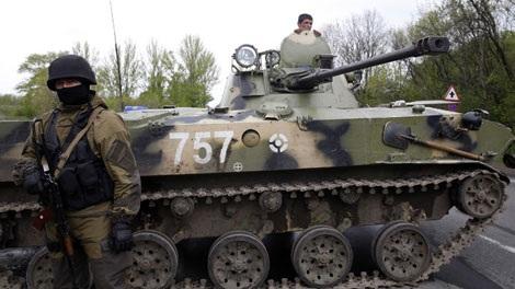 Xe bọc thép Ukraine ở miền đông.