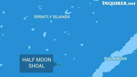 Bãi Bán Nguyệt (Half Moon Shoal), nơi tàu cá Trung Quốc bịgiới Philippines bắt giữ (Ảnh: