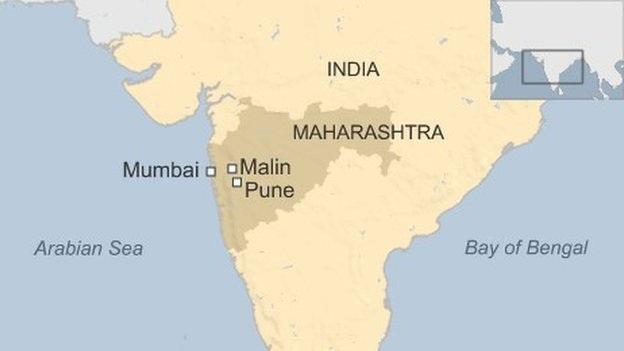 Hiện trường vụ lở đất nằm tại làng Malin nằm gần thành phố Pune.