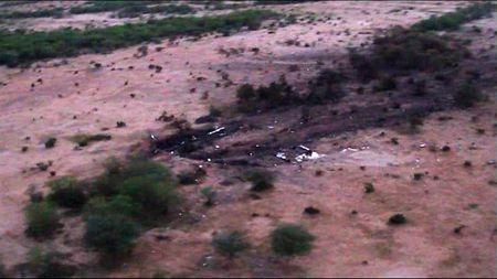 Một vệt cháy đen trên mặt đất do vụ tai nạn AH5017 gây ra.