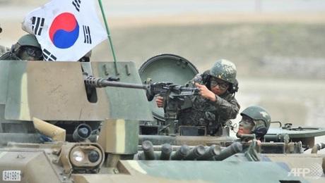 Các binh sĩ Hàn Quốc trong một cuộc tập trận chung với Mỹ.