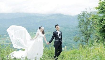 Ảnh cưới của vợ chồng kỹ sư Nhất - Hiền.