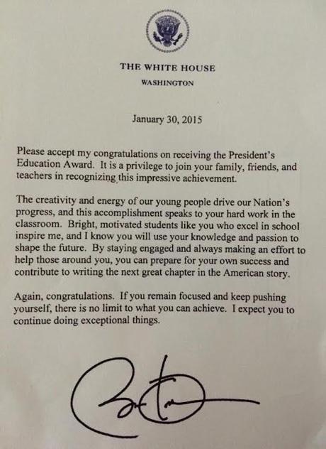 ...và thư chúc mừng Đỗ Nhật Nam từ Tổng thống Mỹ Barack Obama.