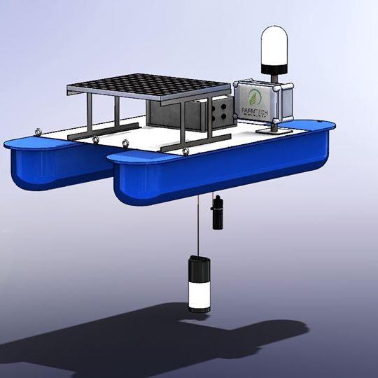 Mẫu sản phẩm version 2 của Farmtech là phao nổi chạy bằng năng lượng mặt trời để nuôi thiết bị và hoạt động giám sát môi trường nuôi trồng thủy sản