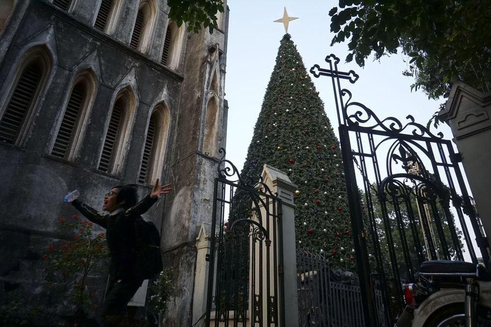 Một cây thông Noel khổng lồ cao hàng chục mét cũng đã được dựng lên phía bên phải của nhà thờ.