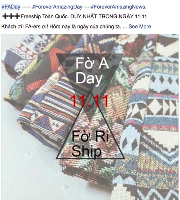 Các shop bán hàng online cũng tranh thủ câu khách nhân Ngày độc thân.