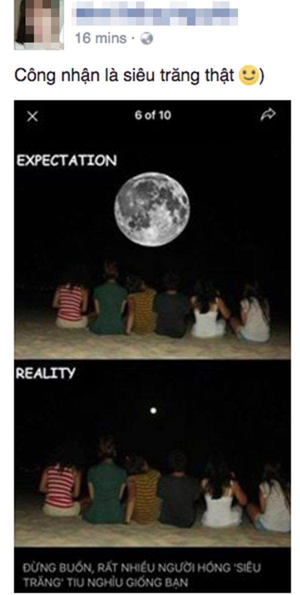 Nhiều người tiu nghỉu vì hiện tượng siêu trăng không hoành tráng như mong đợi.