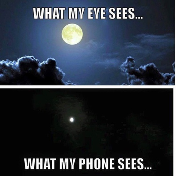 Siêu trăng qua đôi mắt và ảnh chụp điện thoại cũng khác nhau